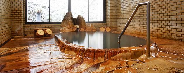 薬師湯のお風呂。まるで大地から湧き出るような大迫力の温泉です。写真は薬師湯公式ページからお借りしてます。